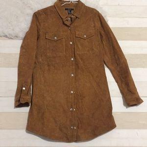Forever 21 genuine suede leather camel jacket